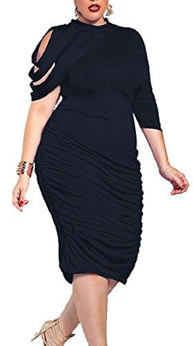 Buy black ruched dress plus size - 4