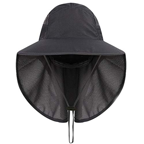 - Toponly Bill Flap Cap Cotton Sun Hat with Neck Cover Flap Cord UV Protecting Dark Gray