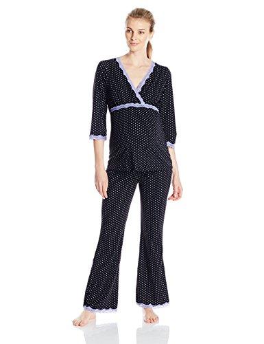 (Belabumbum Women's Maternity Dottie 3/4 Sleeve and Nursing Tunic and Pant Set, Black Dot, Small/Medium)