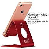 Cell Phone Stand, Lamicall S1 iPhone stand : Cradle, Dock, Holder, Stand For Switch, all Android Smartphone, iPhone 7 6 6s 8 X Plus 5 5s 5c charging, Universal Accessories Desk - Red