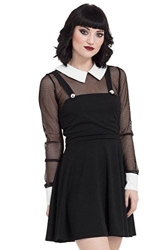Jawbreaker Gothic School Punk Witch Fishnet Collar Black Mini Dress (XL) (Witch Punk)