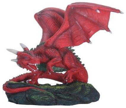 YTC 7.5 Inch Fiero Dragon Mystical Creature Figurine, Red and Black Color