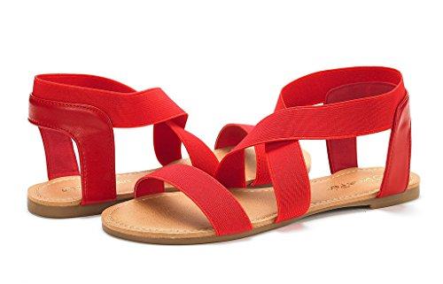 Drøm Parene Kvinners Elatica Elastisk Forstropp Flate Sandaler Røde
