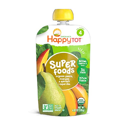 (Happy Tot Superfoods Stage 4 Organic Toddler Food Pear Mango Spinach, 4.22 Ounce Pouch (Packaging May Vary) )