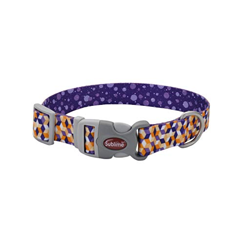 Sublime Adjustable Dog Collar, Pink and Orange Flowers on Navy Pattern, 1.5