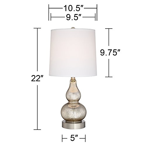 Castine Mercury Glass Table Lamps with USB Port Set of 2 by 360 Lighting (Image #3)