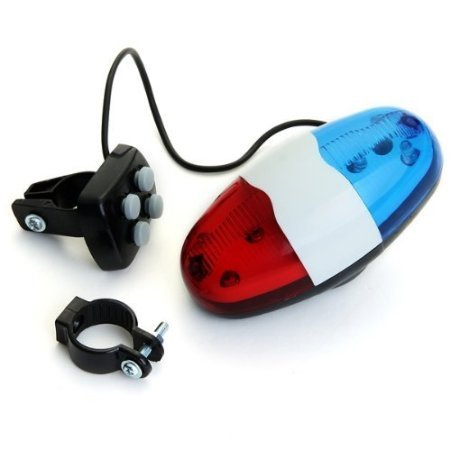 Toy Police Lights (Yliyaya@ Plastic Bike Bicycle Police Car 6 LED Light 4 Tone Sounds Trumpet Cycling Horn Bell ring)