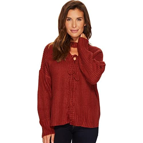 Culture Phit Womens Britnee Lace-Up Choker Sweater