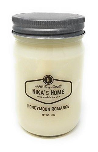 Romance Soy Candle - Nika's Home Honeymoon Romance Soy Candle - 12oz Mason Jar