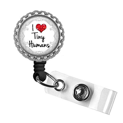 I Love Tiny Humans Silver Retractable ID Tag Badge Reel (Easy Pinup Hair)