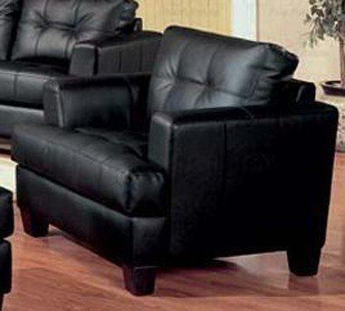 Coaster Furniture 501683 Samuel Chair Black Bonded Leather Upholstery Samuel Black Bonded Leather