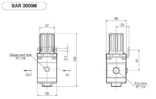 PneumaticPlus SAR2000M-N02BG Miniature Air Pressure Regulator 1/4'' NPT - Gauge, Bracket by PneumaticPlus (Image #2)
