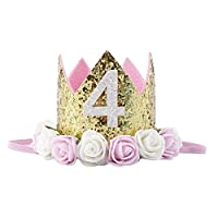 Baby Princess Tiara Crown, Baby Girls/Kids First Birthday Hat Sparkle Gold Flower Style with Artificial Rose Flower (4st Golden Crown)