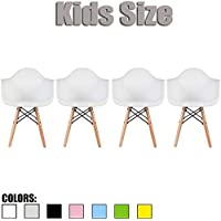 2xhome - Set of Four (4) - White - Kids Size Eames Armchairs Eames Chairs White Seat Natural Wood Wooden Legs Eiffel Childrens Room Chairs Molded Plastic Seat Dowel Leg