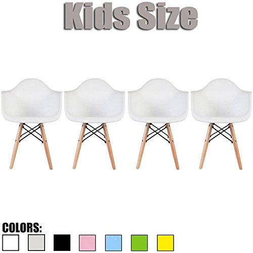2xhome - Set of Four (4) - White - Kids Size Eames Armchairs Eames Chairs White Seat Natural Wood Wooden Legs Eiffel Childrens Room Chairs Molded Plastic Seat Dowel Leg by 2xhome