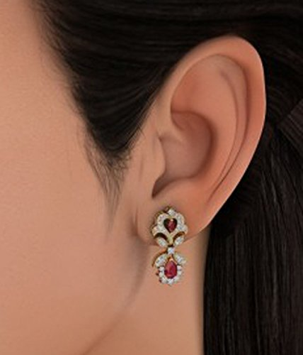 Or jaune 14 K - CT TW White-diamond (IJ | SI) et rubis Boucles d'oreille
