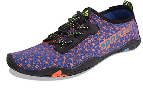 - HEETA Water Sports Shoes for Women Men Quick Dry Aqua Socks Swim Barefoot Pool Beach Shoes for All Water Sport Blue & Orange 46#