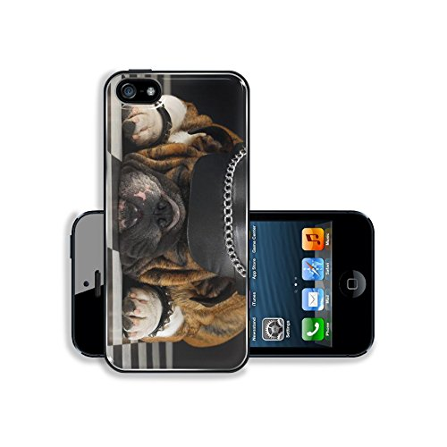 Luxlady Premium Apple iPhone 5 iphone 5S Aluminium Snap Case english bulldog wearing black leather dressed up like motorcycle gang IMAGE ID (Cute Halloween Wallpaper Iphone)