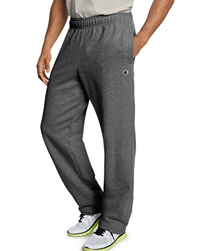 Champion Men's Powerblend Sweats Open Bottom Pants Granite H