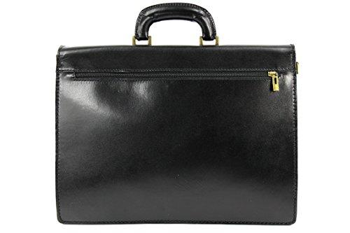 BELLI® ital. Leder Businesstasche Lehrertasche Aktentasche unisex - 40x30x14 cm (B x H x T) (Schwarz)