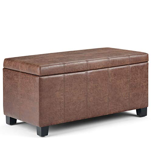 Simpli Home AXCOT-223-DUB Dover 36 inch Wide Contemporary  Storage Ottoman in Distressed Umber Brown Faux Air Leather ()