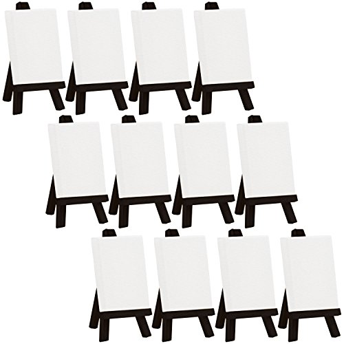 (US Art Supply Artists 2 x 3 inch Mini Canvas and Black Easel Set Painting Craft Drawing - Set Contains: 12 Mini Canvases and 12 Black Mini Easels)
