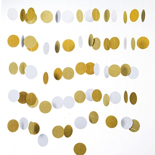 MOWO Circle Dots Glitter Paper Garland, Party Hanging Decorations, Pack of 2 (Glitter Gold, White) -