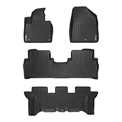 MAX LINER A0191/B0191/C0191 Custom Fit Floor Mats 3 Row Liner Set Black for 2016-2019 Kia Sorento 7 Passenger Model Only