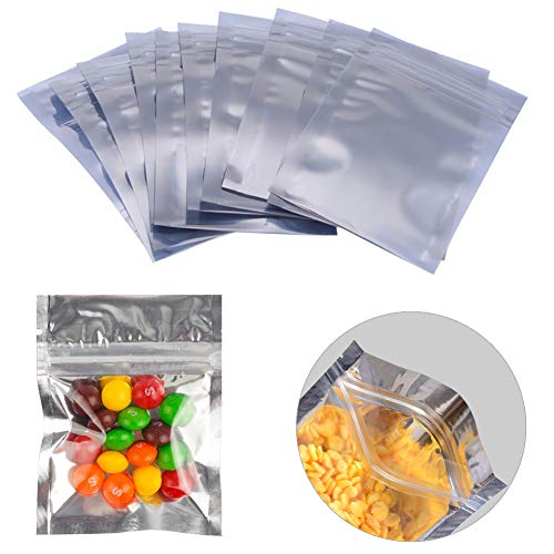 Food Safe Aluminum - Luckycivia 100 PACK Resealable Clear Ziplock Mylar Bags Smell Proof Pouch Aluminum Foil Zip Lock Bulk Food Storage Bag, FDA Approved Food Safe Plastic Aluminum Material,3x4 inch