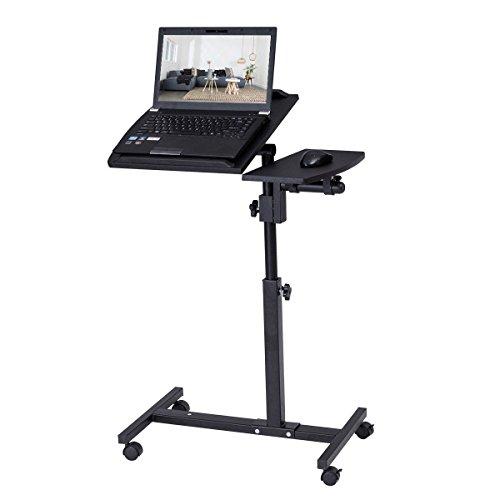 Left Pedestal Desk (Tangkula Portable Laptop Desk Mobile Adjustable Height Notebook Computer Stand w/ Tilting Surfaces for Right and Left Black)