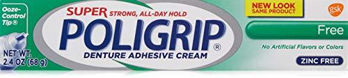 (Super Poligrip Zinc Free Denture Adhesive Cream, 2.4-Ounce Tubes (2))