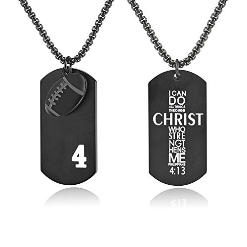 Bible.Shop Men's Football Player Number 4 Stainless Steel Cross Dog Tag Pendant I Can Do All Things Bible Verse Necklace (Black) ()
