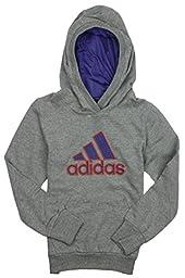 Adidas Big Girls Yoga Dance Hoodie (Small (7/8), Medium Grey/Purple)