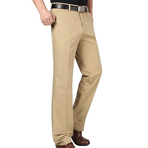 Men's Plain-Front Chino Pants Work Wear Comfort Fit Dress Pant with Pockets ()