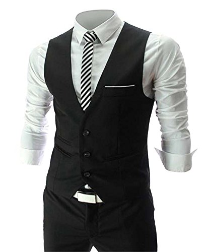 Zicac Men's Top Designed Casual Slim Fit Skinny dress Vest Waistcoat (L,Black) (Men Mens Suits Vests)