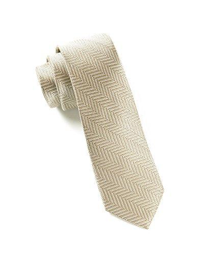 The Tie Bar 100% Silk Light Champagne Native Herringbone 2.5 Inch Tie