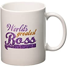 3dRose mug_151286_1 Worlds Greatest Boss Best Work Boss Ever Purple and Gold Text Faux Sparkles Matte Glitter Look Ceramic Mug, 11-Ounce