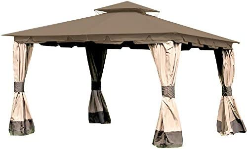 Garden Winds Replacement Canopy Top Cover for Monterey Gazebo – Riplock 350 – Nutmeg