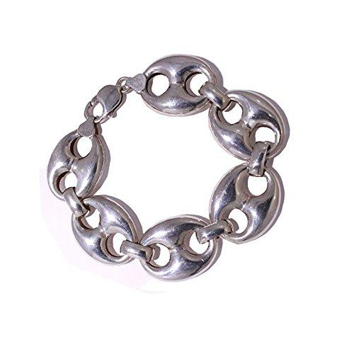 Bracelet en argent sterling maillons modèle avec câble de travail à 21,5 c