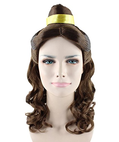 [Classic Princess Style Costume Wig in Brown for Adults HW-1370] (Belle Wigs)