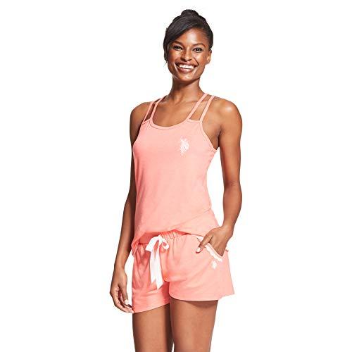 ns 2 Piece Sleeveless Tank Top Elastic Waist Pajama Shorts Set Coral Heather Large ()