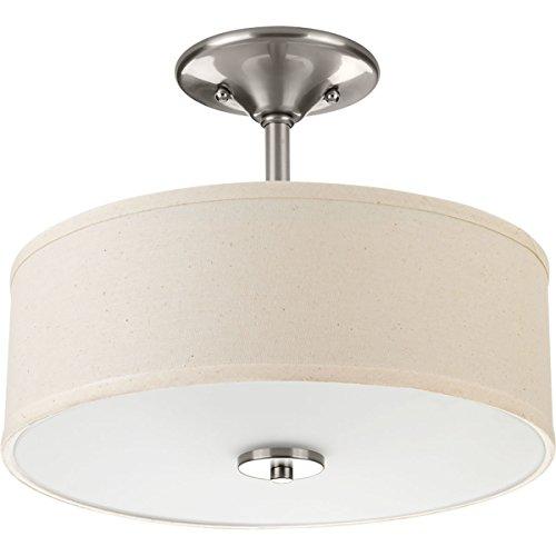 Progress Lighting P3712-09 Inspire Two-Light Semi-Flush, Brushed Nickel (Ceiling Light Semi Flush Mount)