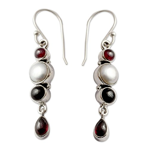 NOVICA Multi-Gem Cultured Freshwater Pearl .925 Sterling Silver Earrings 'Princess of the Night'