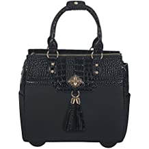 JKM and Company THE MILANO Black Alligator Faux Leather Computer iPad, Laptop Tablet Rolling Tote Bag Briefcase Carryall Bag