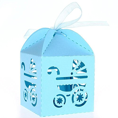 48 Laser Cut Baby Carriage Favor Box Bomboniere Gift Candy Boxes Baby Shower Party Decoration (Blue)