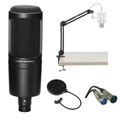 Audio-Technica AT2020 Cardioid Condenser Microphone with MBA38 Microphone Boom Arm, Pop Filter and XLR Cable