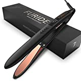 Professional Hair Straightener Titanium Flat Iron For Hair: FURIDEN Hair Straightening And Curling Iron 2 In 1 With 1 Inch Plates, Thin Flat Iron For All Hair Types With Dual Voltage, Black