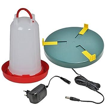 Plato calentador de agua Ø25cm, para bebedero, antihielo 20W + Bebedero para aves,