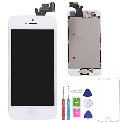 (recyco Compatible Screen Replacement for iPhone 5 LCD - New Display with Home Button Front Camera Speaker Proximity Sensor Full Digitizer Touch Assembly + Free Screen Protector + Tools (White Color))