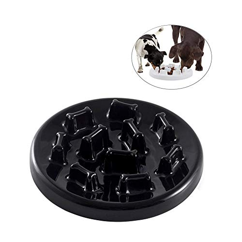Dog Bowls Slow Feeder Ceramic Slow Eating Interactive Fun Foraging Pet Bowls for Dog And Cat, Non-Slip, Large,Black,Dogbowl